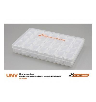 Caja Organizadora 28 Compartimentos 175x110x27mm. plástico Transp.